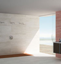 bathroom marble look porcelain stoneware tile TRAVERTINOS Ceracasa Ceramica