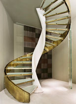 circular staircase with a lateral stringer (metal frame and glass steps) MAGNIFICA LINE EDILCO