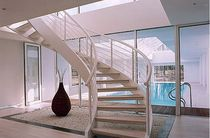 circular staircase with a lateral stringer (wooden frame and steps) POOL Crescent Stairs