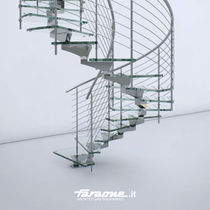 circular staircase with central stringer (metal frame and glass steps) MISTRAL by Matteo Paolini FARAONE Srl