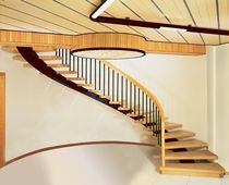 circular staircase with central stringers (metal frame and wooden steps) PORTOFINO CL Scale nilur