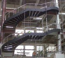 circular staircase with a lateral stringer for commercial buildings  essegi scale