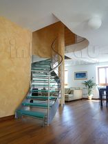 circular staircase with a lateral stringer (metal frame and glass steps) MODEL 200 Interbau