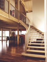 circular staircase with a lateral stringer (wooden frame and steps) ESCALIER COURBE ESCALIERS EBA