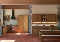 classic solid wood kitchen (oak) AIGUEBELLE 1 SAGNE