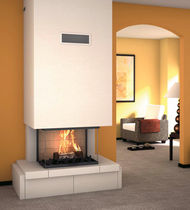 contemporary 3 sided fireplace (wood-burning closed hearth) DALYA  Axis