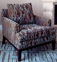 contemporary armchair in recycled fabric TOURMALINE LauraBirnsDesign Eco-Furnishings, LLC