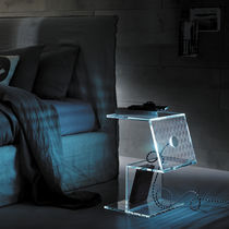 contemporary bed-side table with built-in lights LUMETTO H50 by Leonardi Marinelli TONELLI Design