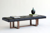 contemporary bench in solid wood and leather METRO BENCH VIOSKI