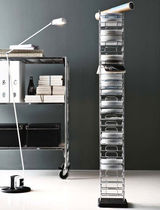 contemporary CD/DVD shelf DISCOBOLO by Enzo Mari Robots
