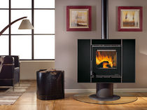contemporary central wood-burning stove (rotating) CARILLON 4:3 CRYSTAL Nordica