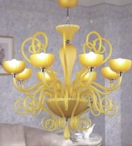 contemporary chandelier (blown glass, handmade) AMBER TWIRL 8 UNITED LIGHTS