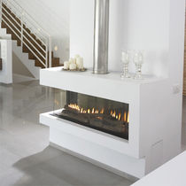 contemporary corner fireplace (gas closed hearth) CLEAR 130 RS/LS Ortal USA