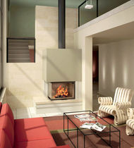 contemporary corner fireplace (wood-burning closed hearth) ESTHER  Axis