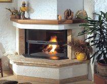contemporary corner fireplace (wood-burning closed hearth , retractable door) LARIUS Amiata Caminetti