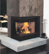 contemporary corner fireplace (wood-burning closed hearth) FMI: INGLENOOK ENTICER Fmi