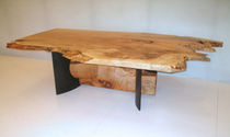 contemporary dining table in wood and metal 0035 JOHN HOUSHMAND
