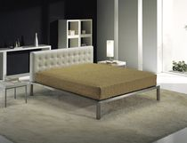 contemporary double bed with headboard upholstered in leather PICASSO opera divani by goldenline srl
