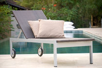 contemporary double garden sun lounger in resin wicker with casters  Outdoor Comforts