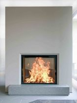 contemporary double-sided fireplace (wood-burning closed hearth , retractable door) LUNA 850 DV GOLD+ m-design
