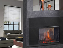 contemporary double-sided fireplace (electric closed hearth) SIMPLIFIRE : SEE-THROUGH QUADRA-FIRE