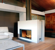 contemporary double-sided fireplace (wood-burning closed hearth , retractable door) 21 St&ucirc;v