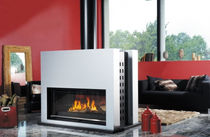 contemporary double sided wood-burning stove ARBOUSSOL CHEMINEES PHILIPPE