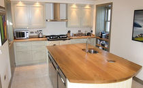 contemporary eco-friendly kitchen with island in certified wood (FSC Eco-label)  Norfolk Oak Ltd