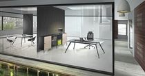contemporary executive glass office desk with metal structure 733 IMO