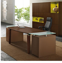 contemporary executive wooden and glass office desk P35 Steelcase France