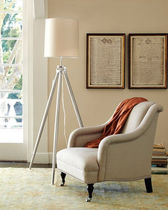 contemporary fabric floor lamp (tripod) BURNISHED SURVEYOR Williams Sonoma Home