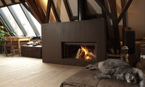 contemporary fireplace (wood-burning closed hearth , retractable door) 21 St&ucirc;v