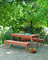 contemporary garden bench (teak)  Outdoor Comforts