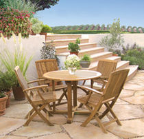contemporary garden folding chair with armrests (teak)  Outdoor Comforts