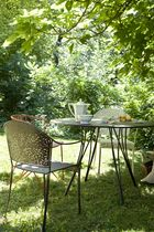 contemporary garden stacking chair with armrests RENDEZ-VOUS by Pascal Mourgue FERMOB