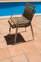 contemporary garden stacking chair (teak)  Outdoor Comforts