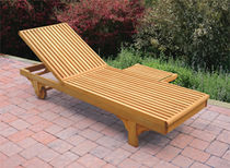 contemporary garden sun lounger with casters (teak)  Outdoor Comforts