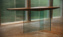 contemporary glass and solid wood table 0050 JOHN HOUSHMAND