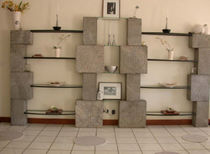 contemporary glass and stone shelf TOTEM madastone