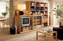contemporary glass and wood TV wall unit LILIUM hülsta