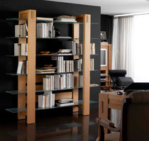 contemporary glass and wooden shelf SQUADRA Lasserre