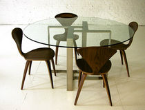 contemporary glass round table T.103 by Jose Pascual Boxx Furniture