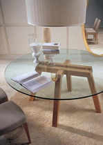contemporary glass round table KOKI by W. Mandelli & W. Selva Porada