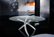 contemporary glass round table FILI D'ERBA by Tulczinsky reflex Angelo
