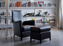 contemporary leather armchair with footstool CALVINO by Lievore Altherr Molina Verzelloni