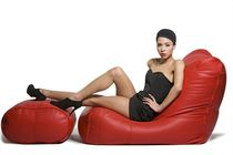 contemporary leather armchair with footstool FIORENZE LEATHER SOFA &amp; OTTOMAN Ambient Lounge Italia