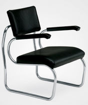 contemporary leather sled base armchair SANT'ELIA by Giuseppe Terragni Zanotta