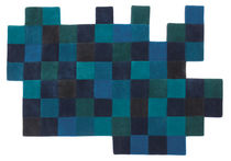 contemporary motif rug in New Zealand wool (handmade) DO-LO-REZ 1 BLUES by Ron Arad nanimarquina