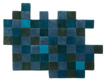 contemporary motif rug in New Zealand wool (handmade) DO-LO-REZ 2 BLUES by Ron Arad nanimarquina