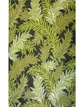 contemporary motif rug synthetic TROPICAL LEAF GREEN LIORA MANNE